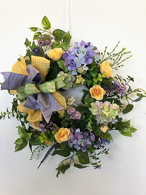 Lavender, Yellow and Cream Silk Floral Summer Petite Wreath/Eng163 - April's Garden Wreath