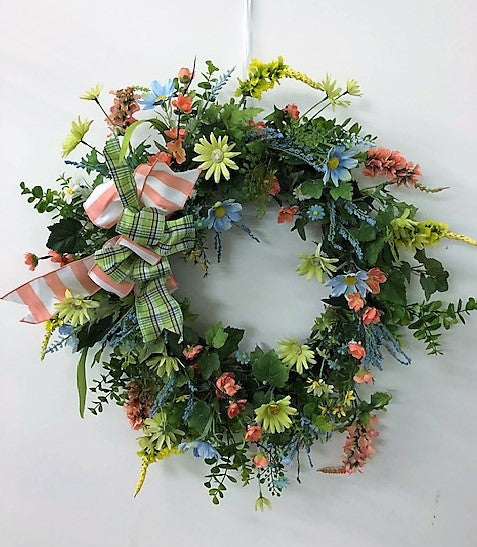 Blue and Green Daisy Silk Floral Spring Crescent Wreath/Eng168 - April's Garden Wreath