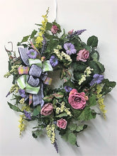 Mauve, Lavender and Yellow Silk Floral Spring Rose Wreath/ENG16 - April's Garden Wreath