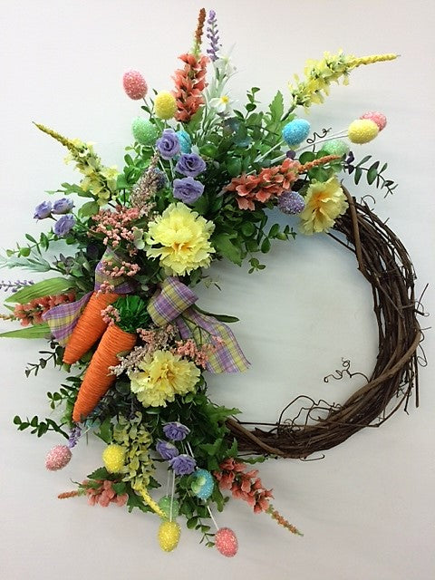 Purple, Yellow, Pink Silk Floral Easter Crescent Wreath with Easter Decor/Eng171
