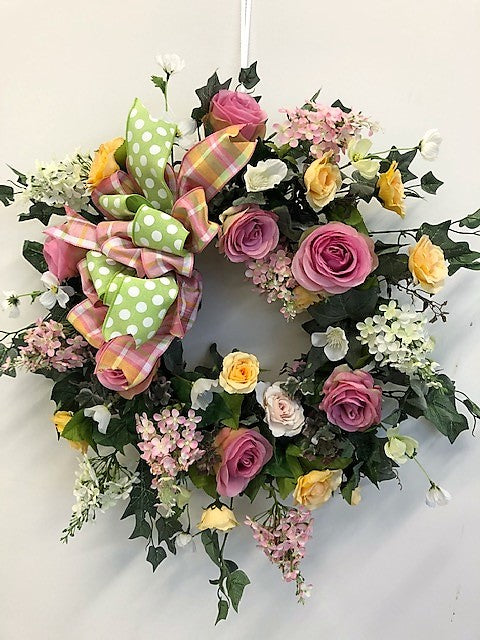 Pink, Yellow and Cream Silk Floral Spring Front Door Wreath/Eng178 - April's Garden Wreath