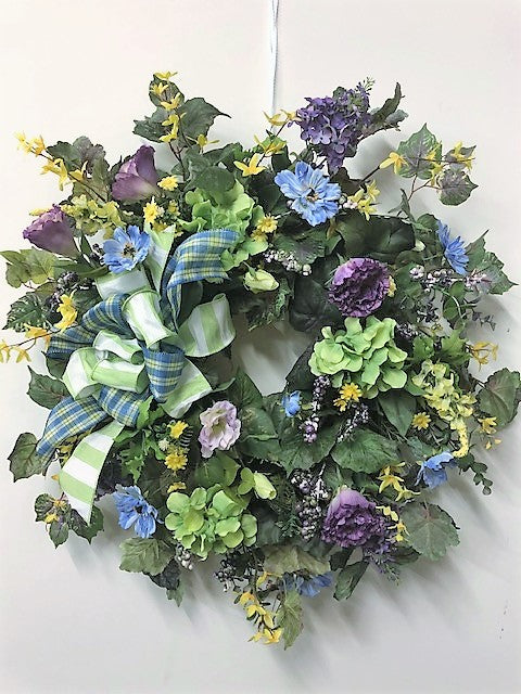 Lavender and Green Silk Floral Front Door Spring Hydrangea Wreath/Eng17 - April's Garden Wreath