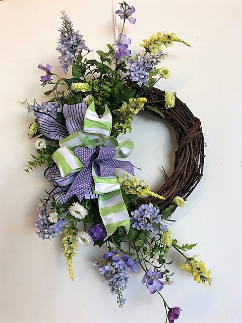Lavender and Green Silk Floral Spring Crescent Wreath/Eng181 - April's Garden Wreath