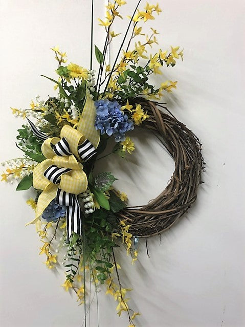 Yellow and Blue Silk Floral Summer Crescent Wreath/Eng182