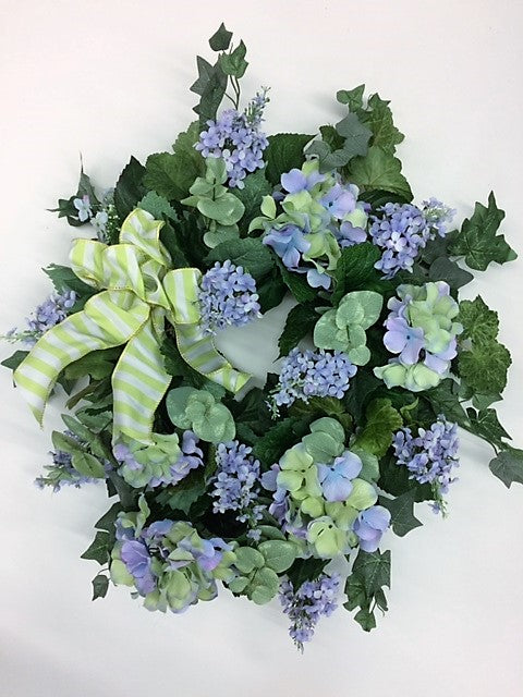 Lavender and Green Hydrangea Silk Floral Summer Wreath/Eng183 - April's Garden Wreath