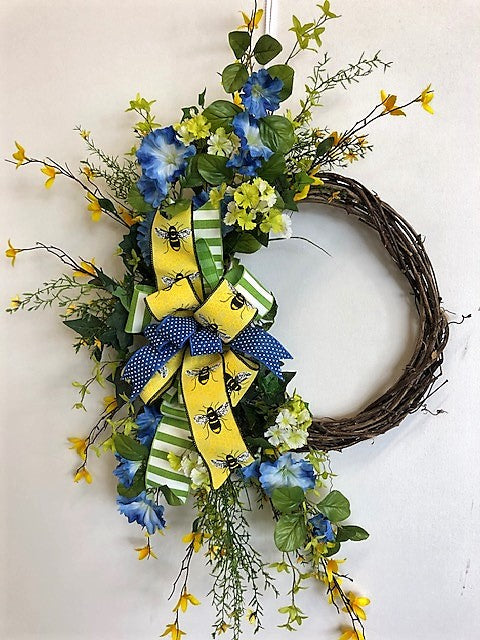 Blue, Yellow and Lime Silk Floral Summer Wreath/Eng184 - April's Garden Wreath
