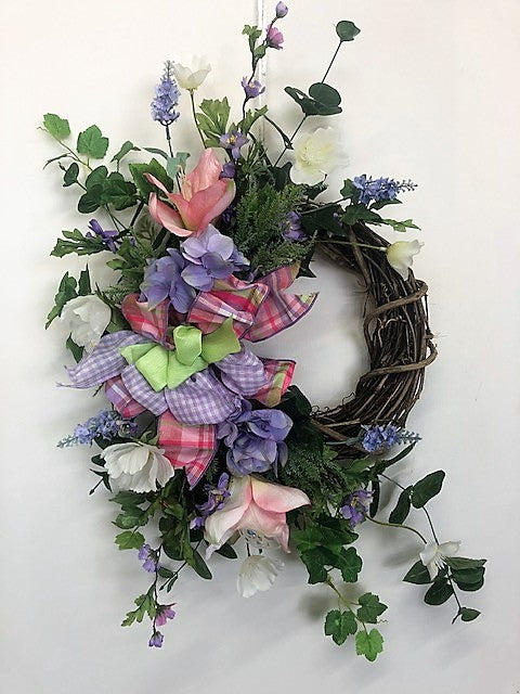 Pink, Cream and Lavender Silk Floral Petite Spring Summer Crescent Wreath/Eng187