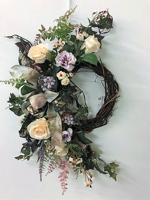 Peach and Purple Silk Floral Spring Crescent Wreath with Roses/ Eng193 - April's Garden Wreath