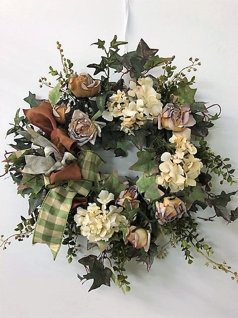 Hydrangea and Rose Silk Floral Spring Petite Wreath/Eng194 - April's Garden Wreath