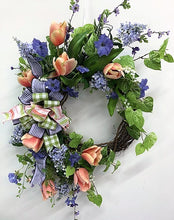 Peach and Lavender Large Spring Tulip Wreath/Eng196 - April's Garden Wreath