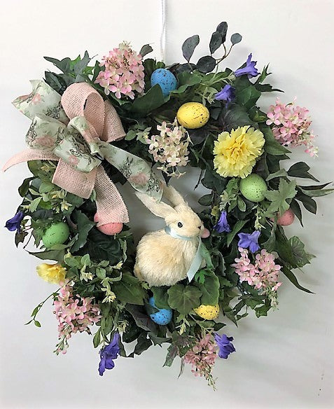 Pink and Yellow Silk Floral Easter Wreath with Easter Bunny/Eng201 - April's Garden Wreath