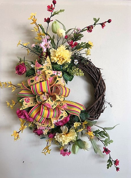 Pink and Yellow Silk Floral Petite Spring Wreath/Eng205 - April's Garden Wreath