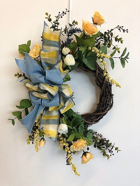 Yellow and Blue Silk Floral Spring Summer Petite Wreath/Eng208