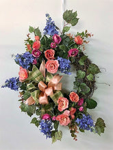 Coral, Pink and Periwinkle Silk Floral Spring Summer Crescent Wreath/Eng211 - April's Garden Wreath