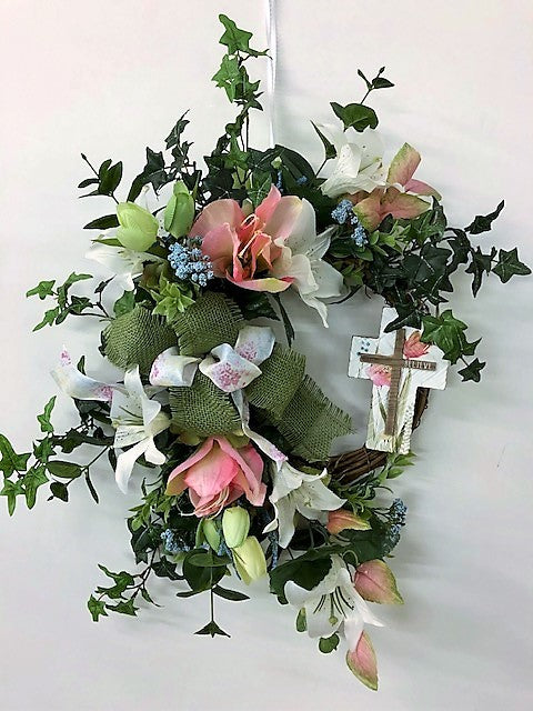 White and Pink Silk Floral Petite Easter Wreath with Cross/Eng212 - April's Garden Wreath