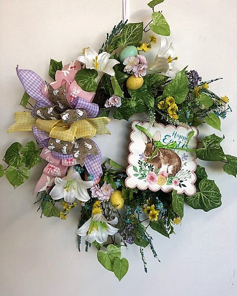 White Lily Silk Floral Easter Wreath with Plaque and Eggs/Eng213 - April's Garden Wreath