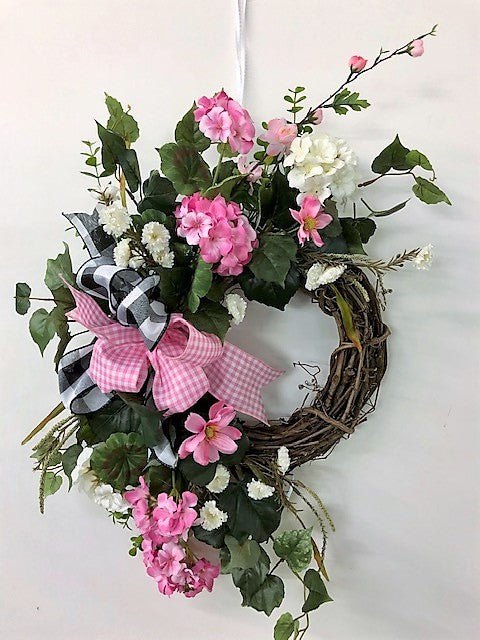 Pink and Cream Silk Floral Spring Petite Crescent Wreath/Eng216 - April's Garden Wreath