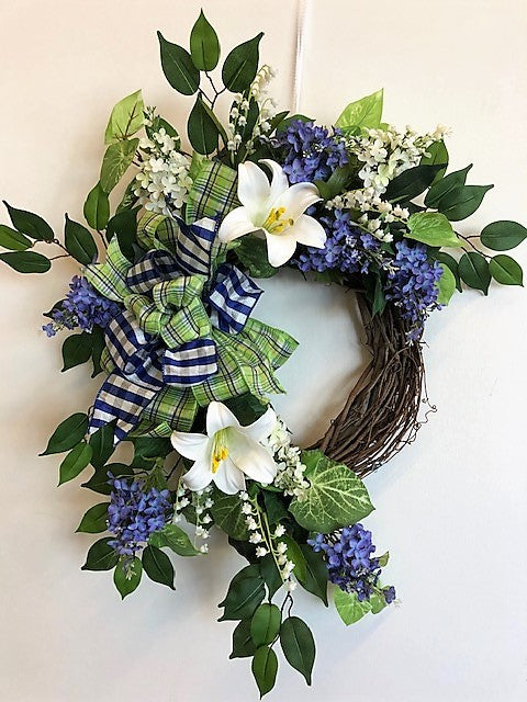 White Lily Silk Floral Spring Wreath with Blessed Plaque/Eng218 - April's Garden Wreath