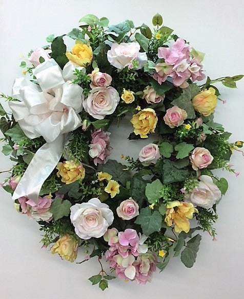 Pink, Yellow and Light Green Silk Floral Spring Wreath/ENG21 - April's Garden Wreath