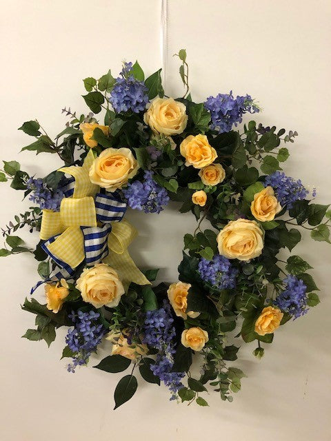 Yellow and Blue Silk Floral Spring Wreath/Eng222 - April's Garden Wreath