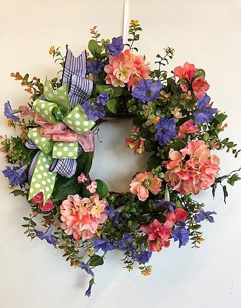 Coral and Purple Silk Floral Spring Summer Hydrangea Wreath/Eng224 - April's Garden Wreath