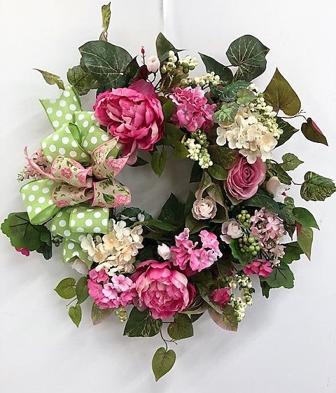 Pink, Green and Cream Silk Floral Spring Summer Wreath/Eng225