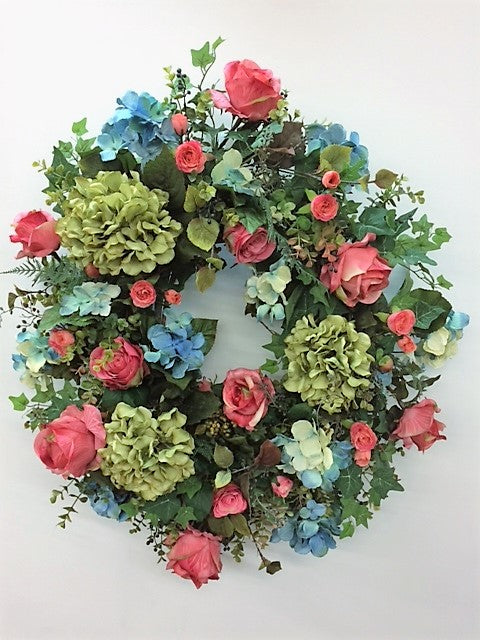 Watermelon, Teal and Olive Hydrangea Silk Floral Spring Wreath/Eng22