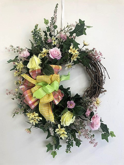 Yellow and Pink Silk Floral Spring Summer Crescent Wreath/Eng242