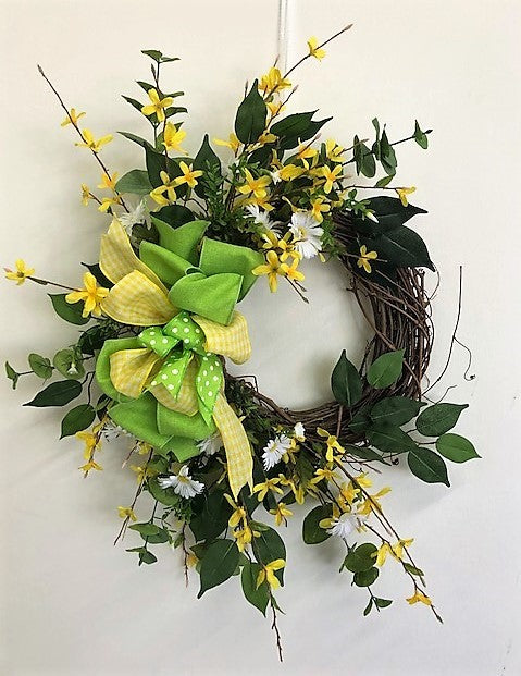 Yellow and Cream Silk Floral Spring Summer Crescent Wreath/Eng243