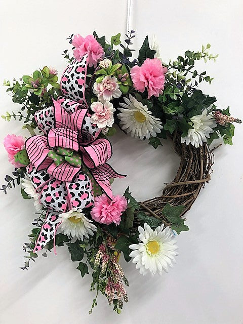 Pink and White Silk Floral Spring Summer Wreath with Leopard Print/Eng50