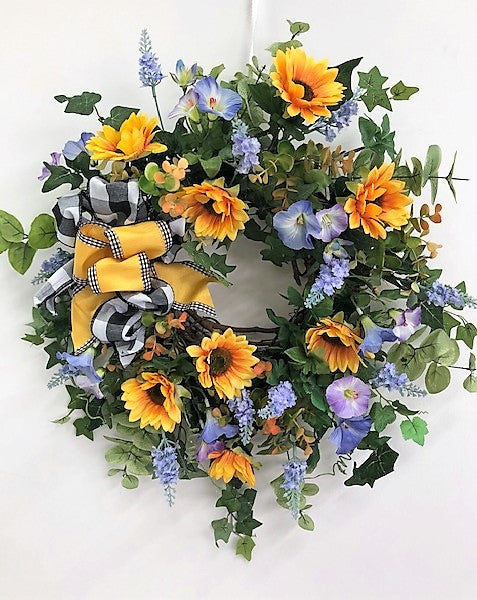 Gold and Blue Silk Floral Spring Summer Wreath with Sunflowers/Eng251