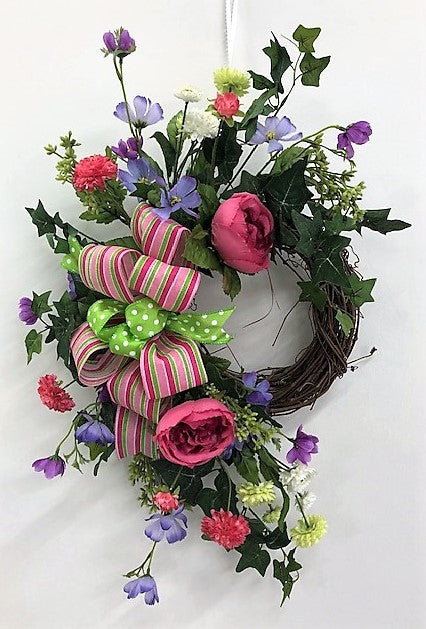 Watermelon, Purple, and Green Silk Floral Summer Crescent Wreath/Eng252