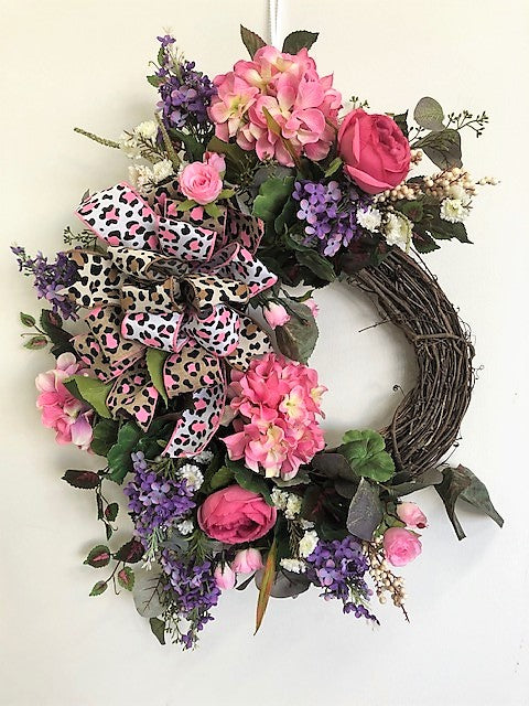 Pink and Purple Silk Floral Spring Summer Large Crescent Wreath/Eng253