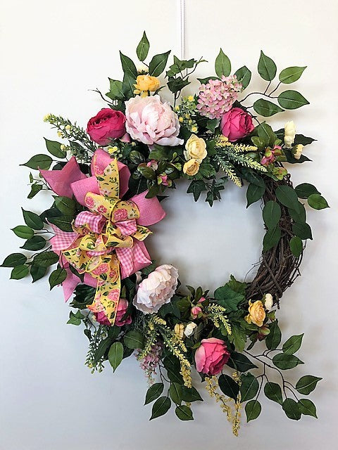 Dark and Light Pink Silk Floral Spring Summer Large Crescent Wreath/Eng256
