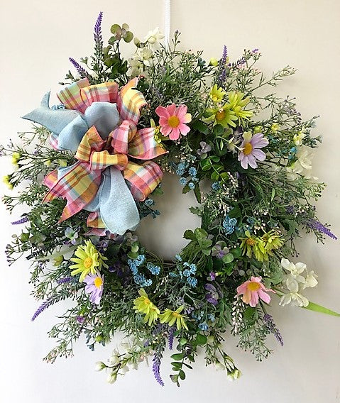 Pastel Silk Floral Spring Summer Wreath with Daisies and Wildflowers/Eng257