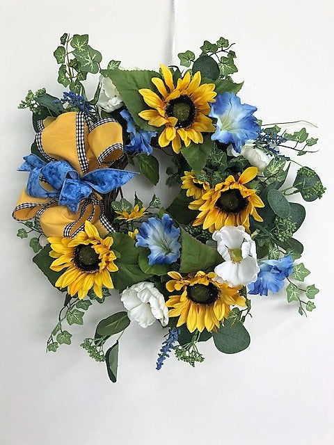 Gold Sunflower and Blue Morning Glory Silk Floral Spring Summer Petite Wreath/Eng259