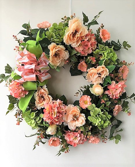 Peach, Coral and Green Silk Floral Large Spring Wreath with Hydrangea/Eng263