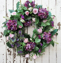 Purple, Pink and Cream Silk Floral Spring Wreath/Eng26 - April's Garden Wreath