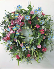 Blue, Dark Pink and Yellow Spring Wreath/Eng29 - April's Garden Wreath