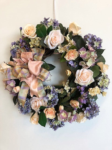 Peach and Lavender Silk Floral Spring Wreath/Eng42