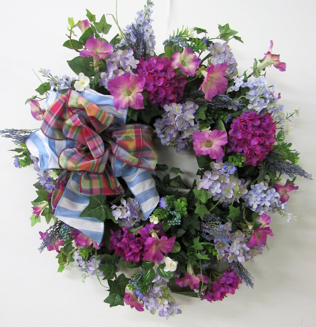 Magenta and Lavender Silk Floral Summer Hydrangea Wreath/ENG46 - April's Garden Wreath