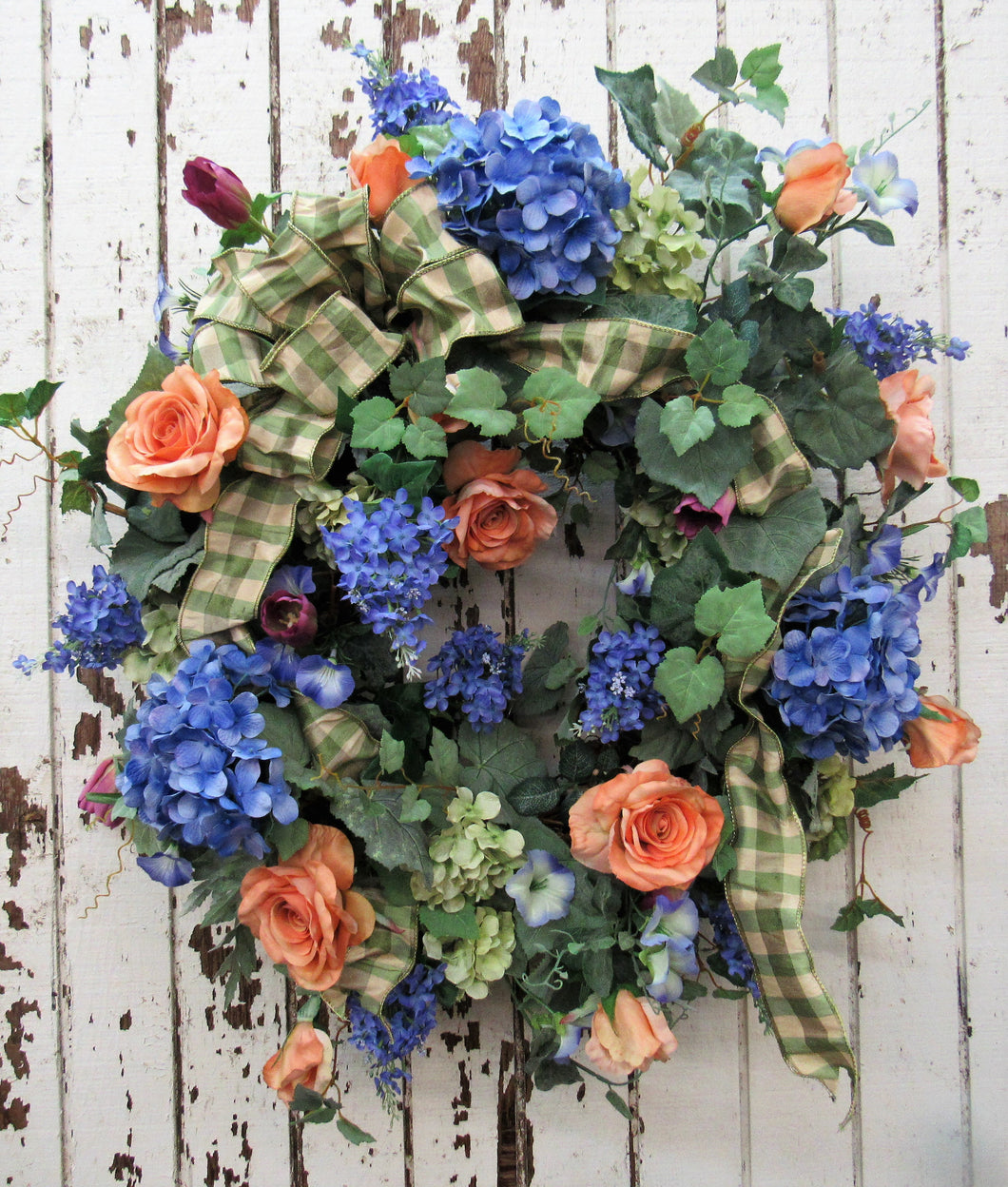 Blue/Lavender and Dusty Orange Spring Wreath/ENG59 - April's Garden Wreath
