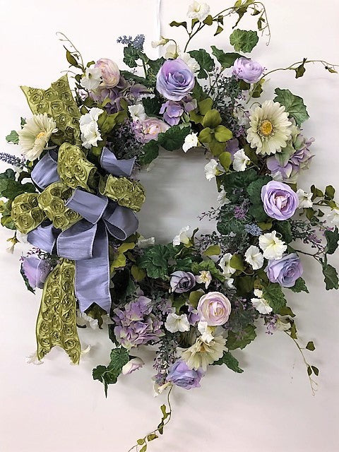 Green and Lavender Spring Large Wreath/ENG66 - April's Garden Wreath