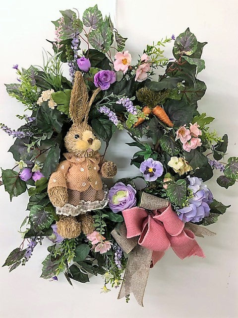 Lavender and Coral Silk Floral Easter Front Door Wreath with Bunny/Eng71 - April's Garden Wreath