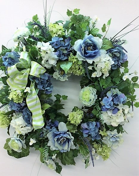 Blue, Green and Cream Silk Floral Spring Wreath/ENG82 - April's Garden