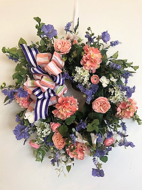 Coral and Lavender Silk Floral Spring Wreath/ENG84 - April's Garden Wreath