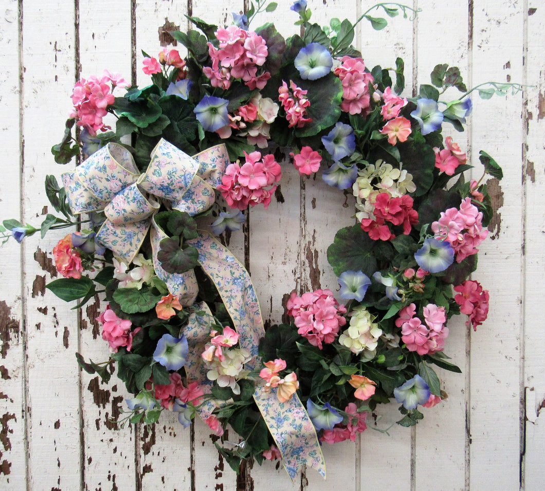 Pink, Blue and Yellow Spring Wreath/ ENG98 - April's Garden Wreath
