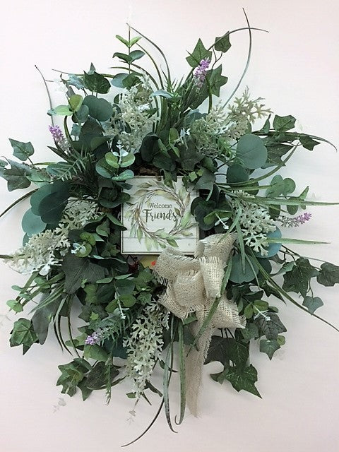Blue and Green Silk Floral Farmhouse Wreath with Welcome Plaque/FH05 - April's Garden Wreath