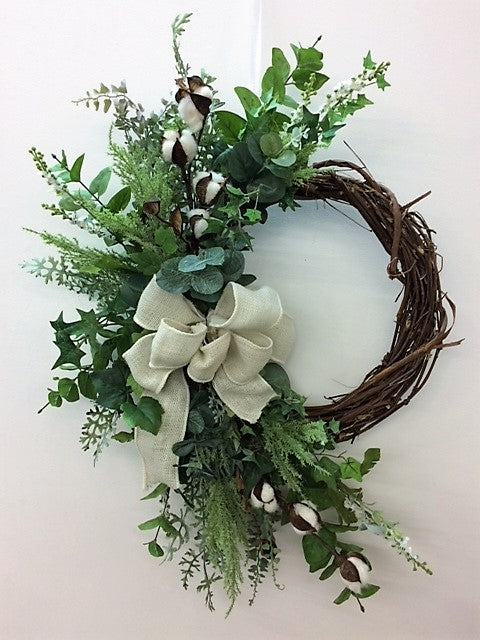 Everyday Silk Floral Farmhouse Crescent Wreath/FH11 - April's Garden Wreath