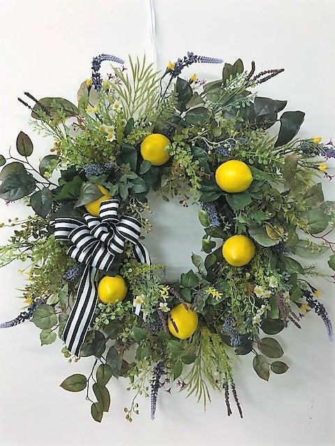 Lemon and Eucalyptus Silk Floral Everyday Farmhouse Wreath/FH16 - April's Garden Wreath